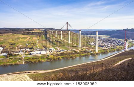 High Moselle Bridge Construction Side View Over The Moselle Vall