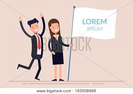 Business people man and woman holding a white flag with text. Joyful businessman and businesswoman. Flat character isolated on background. Flat vector template