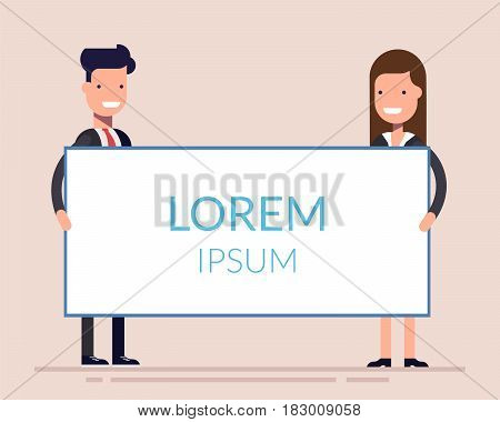Business man and woman or managers stand near the presentation display. Demonstration at a meeting or seminar. Blank screen. Flat character isolated on background
