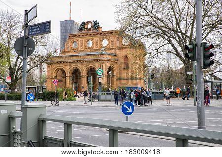 BERLIN GERMANY - APRIL 6: Part of railway station Anhalter Bahnhof in Berlin on April 6 2017 in Berlin