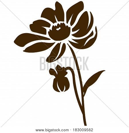 Decorative dahlia flower with bud silhouette. Vector illustration
