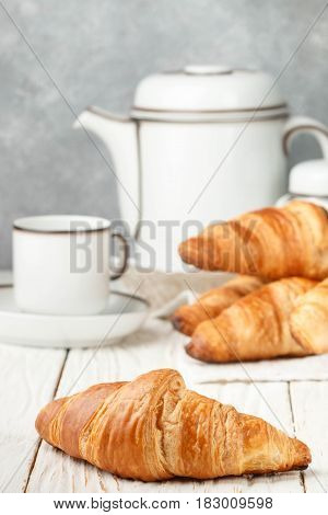 Fresh Croissants For Breakfast. Selective Focus