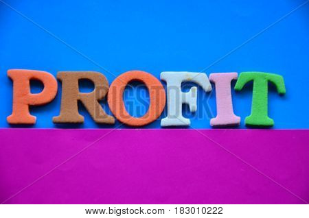 word profit on a  abstract colorful background