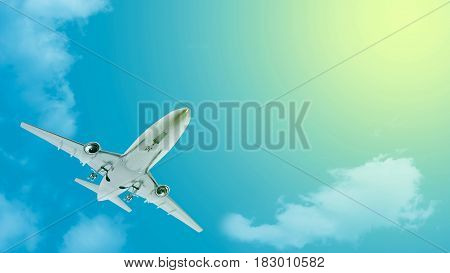 3d Rendering airplane flying on the sky