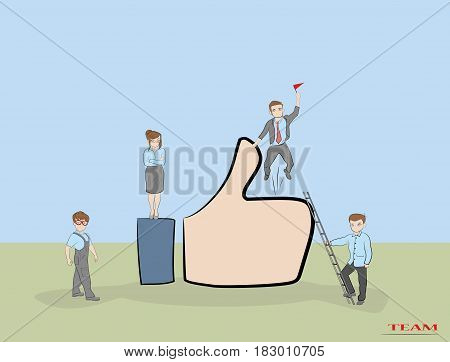 I like it concept. Sketch of working little people with like symbol. Doodle cute miniature of teamwork and hand thumb up. Hand drawn cartoon vector illustration.