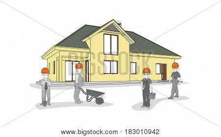 Little people builders near a new modern house. teamwork. vector illustration.