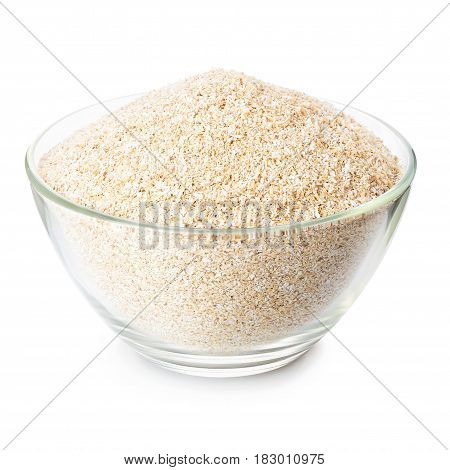 oat bran in transparent glass bowl isolated on white background. Food supplement to improve digestion. Dietary fiber. Product for healthy nutrition and diet