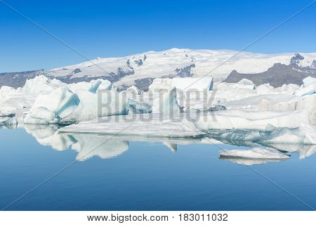 Beautiful view of icebergs in Jokulsarlon glacier lagoon Iceland global warming concept