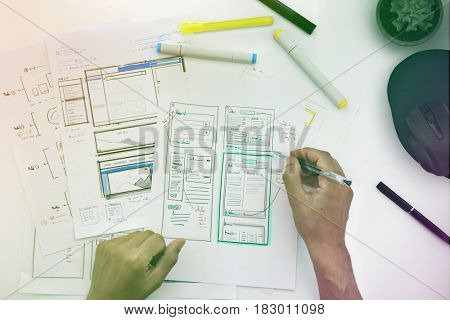 Graphic designing web page hands