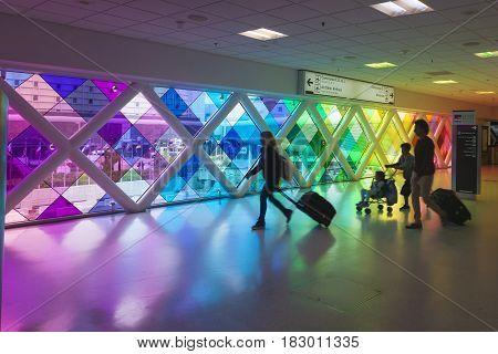 Miami Fl USA - March 24 2017: Colorful windows in the Miami International Airport. Florida United States