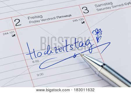 calendar note, wedding