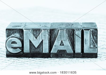 e-mail written in lead characters