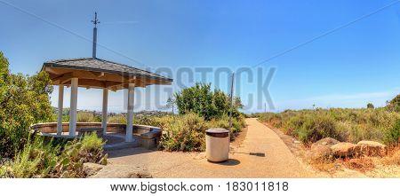 Gazebo over Bobcat Hiking Trail in Newport Beach California in spring