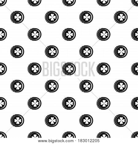 Coin with clover sign pattern seamless in simple style vector illustration