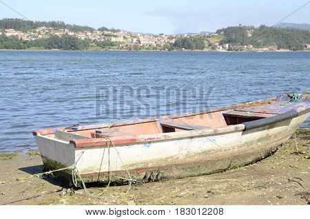 Sailor boat at the foreground of the sea the Rias of Pontevedra in Combarro galicia Spain.