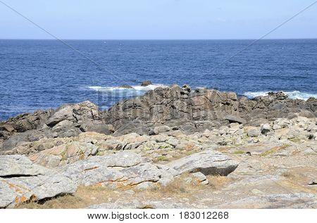Rocks at the coastline of Corrubedo Galicia Spain