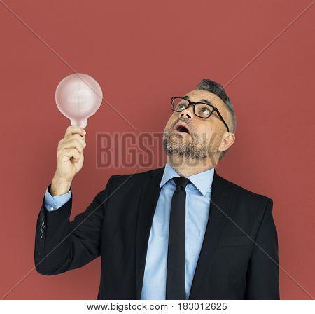 Caucasian Business Man Lightbulb