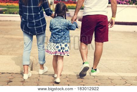 Family Holiday Vacation Park Walking Togetherness