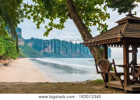 Gazebo In A Beautiful Place On The Beach In The Tropics