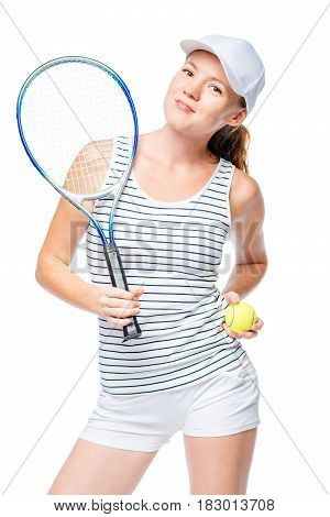Tennis Player Confident In A Banter On A White Background
