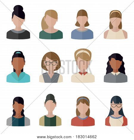 Collection people icons in flat style. Persons female different nationality.