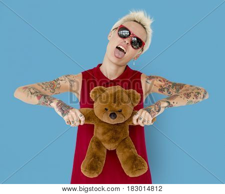 Caucasian Blonde Woman Tattoo Teddy Bear
