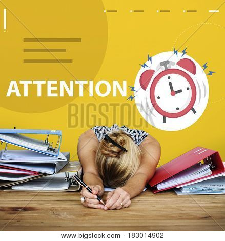 Alarm clock beating wake tired woman up