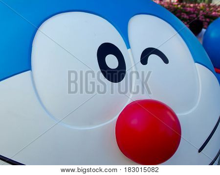 Roppongi Tokyo JAPAN, 2016 July 24. close up on face of Doraemon sculpture at the exhibition of DORAEMON at the Roppongi Hill. TOKYO JAPAN