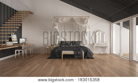 Canopy bed in minimalistic white and gray bedroom with home workplace scandinavian classic interior design, 3d illustration