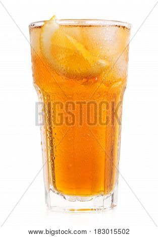 Glass Of Iced Tea With Lemon On White Background