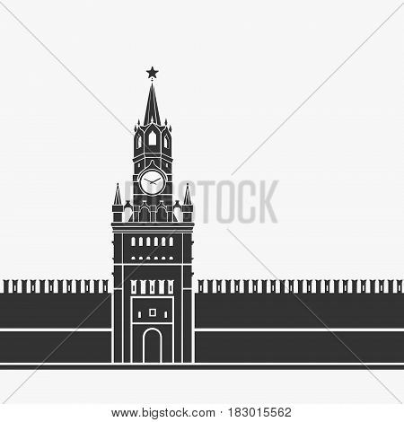 Kremlin Clock Chimes Moscow Symbol Vector Illustration