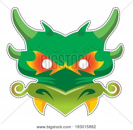 Chinese dragon mask for masquerade and parties vector illustration