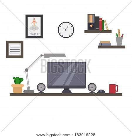 Office room with computer. Flat style illustration.