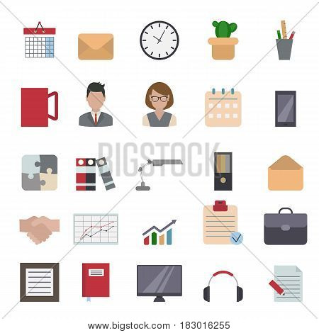 Office and business flat design icons set.