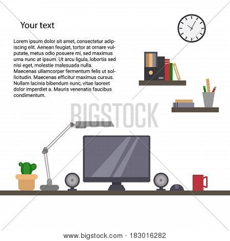 Office room with computer. Flat style. Vector illustration with place for your text.