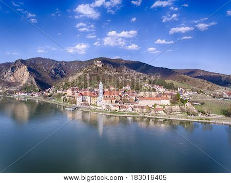 Medieval town of Durnstein (Dürnstein) UNESCO World Heritage Site along the Danube River. Wachau region Lower Austria