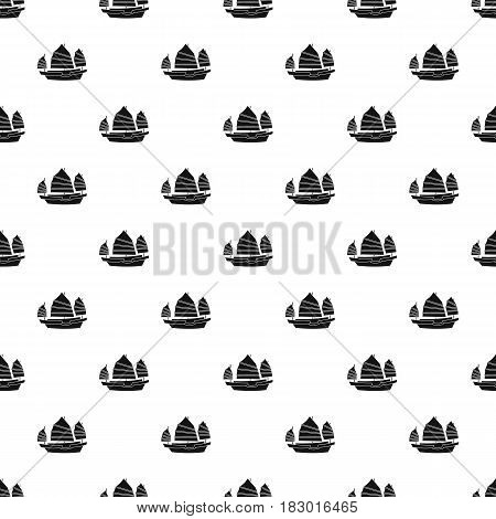 Junk boat pattern seamless in simple style vector illustration