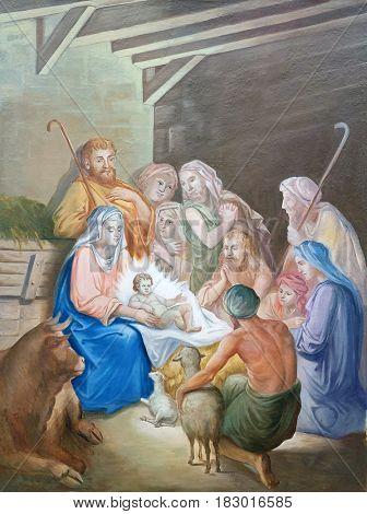 KRASIC, CROATIA - JUNE 11: Nativity Scene, Adoration of the Shepherds fresco in parish church of the Holy Trinity in Krasic, Croatia on June 11, 2016