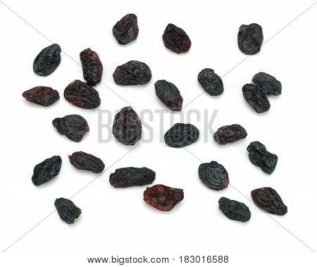 Organic dried Raisins isolated on white background