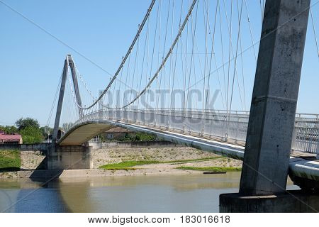MARTINSKA VES, CROATIA - JUNE 18: Bridge over the Sava River in Martinska Ves, Croatia on June 18, 2016.