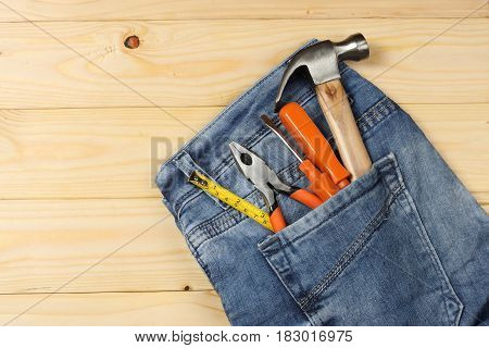 industrial tools on wooden background / tools texture / tools background