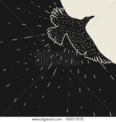 Background with black flying raven. Hand drawn inky bird.