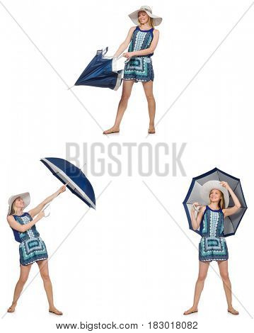 Collage of woman with umbrella isolated on white