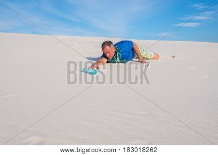 Traveler Suffering From Thirst, Is Crawling Through The Desert