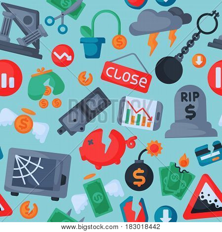 Crisis symbols concept and problem economy banking business finance design investment icon vector illustration. Bankruptcy exchange depression credit recession falling seamless pattern.