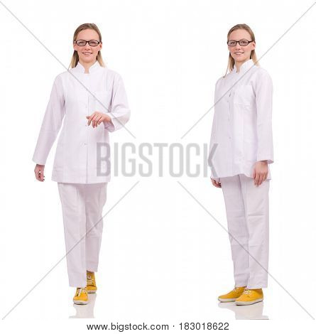Woman doctor isolated on the white