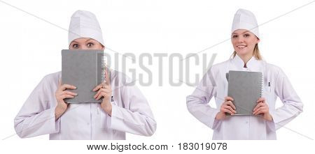 Pretty female doctor isolated on white