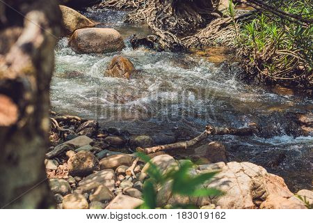 Beautiful Landscape Rapids On A Mountains River In Sunlight