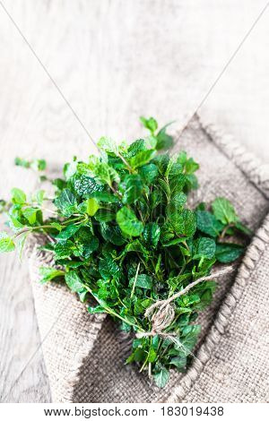 Fresh mint leaves bunch herb on wooden table. Top view with copy space macro