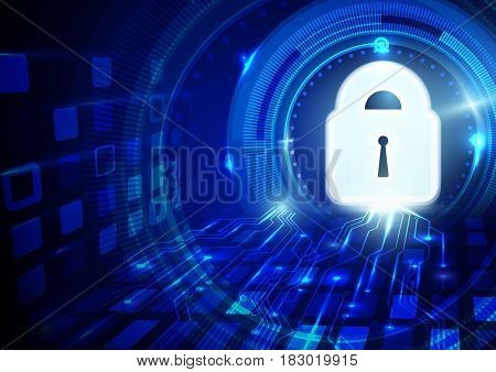 Abstract futuristic geometric and lock icon technology concept background
